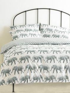 M&Co. Homeware Elephant parade duvet set Back To University, Elephant Parade, Elephant Print, Cotton Bedding, Duvet Sets, Shades Of Grey, Good Night Sleep, Master Bedroom, Furniture