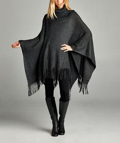 Love this Charcoal Gray Fringe Turtleneck Poncho on #zulily! #zulilyfinds