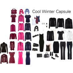 An example capsule wardrobe for a cool winter complexion. It would also work for all other winters and cool summers.  Based on a black and white base with navy,...