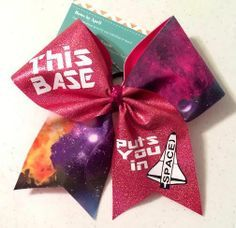 Bows by April Express - This BASE Will Put You in SPACE Galaxy and Glitter Cheer Bow, $18.00 (http://www.bowsbyaprilexpress.com/this-base-will-put-you-in-space-galaxy-and-glitter-cheer-bow/) Cheer Leading