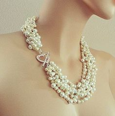 Bridal Necklace Pearl Wedding Jewelry Pearl Statement Necklace Wedding Necklace Bridal Jewelry Silver Heart Chunky for Brides DOREN Layered Pearl Necklace, Pearl Necklace Wedding, Bridal Necklace, Bridal Jewelry, Pearl Bridal, Bridal Accessories, Vintage Wedding Jewelry, Bridesmaid Jewelry Sets, Pearl Cream