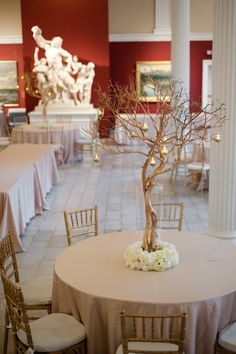 I want to do this for the place card table. In place of the candles, though, I would hang various pictures of Jake and I from the branches. No floral arrangement at the base either.