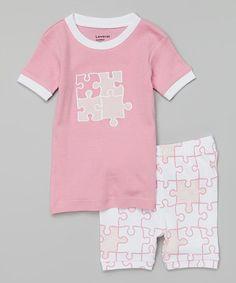 Look what I found on #zulily! Pink & White Puzzle Piece Pajama Set - Infant, Toddler & Girls #zulilyfinds