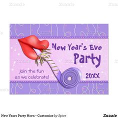 New Years Party Horn - Customize 5x7 Paper Invitation Card