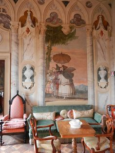 Trompe l'œil Villa Valmarana ai Nani, Photo by Steve Shriver Decoration, Art Decor, Decor Ideas, Italian Home, Italian Style, Ivy House, World Of Interiors, Wall Treatments, Colour Schemes