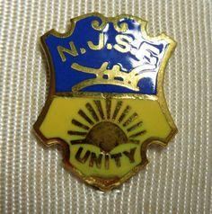 New Jersey State Memorabilia - Gold Lapel Pin - Vintage Lapel Pin - Federation NJSF Vintage Unity Pin - in original box