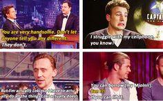 Robert Downey, Jr., Chris Evans, Tom Hiddleston, and Chris Hemsworth