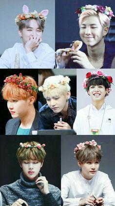 BTS with flower crowns Foto Bts, Bts Photo, Jimin Jungkook, Bts Taehyung, Bts Bangtan Boy, Bambam, Got7, Bts Group Photos, Bts Group Picture