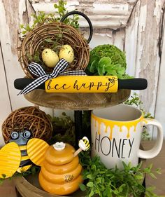 Here's an adorable mini bee themed rolling pin. ⚠️ This listing includes one mini rolling pin only Bee Crafts, Diy And Crafts, Tray Styling, Tiered Stand, Bee Theme, Tray Decor, Wall Decor, 5 Minute Crafts, Farmhouse Decor