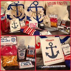 Family Cruise goody bags!! What's in it: journal, pen, socks, water bottle, first aid kit, monogrammed stickers, lanyard, Pirates booty, goldfish &  Swedish fish, gum, tic tacos, Chapstick, hand sanitizer, water bottle clip, tiny bottles for sand.                                                                                                                                                                                 More