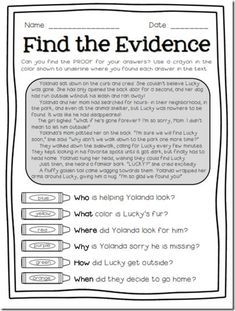 Find The Evidence freebie preview for finding text evidence