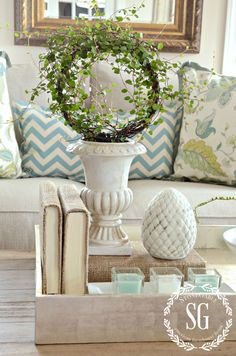 Stonegable SPRING COFFEE TABLE VIGNETTE http://www.stonegableblog.com/spring-coffee-table-vignette/ via bHome https://bhome.us