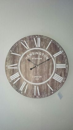 Grote houten klok XL Xl, New Homes, Wall Clocks, Projects, Farmhouse, Home Decor, Clock, Accessories, Log Projects