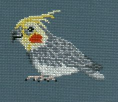 Cockatiel counted cross-stitch chart