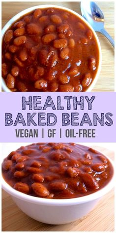 Vegan Baked Beans These Vegan Baked Beans are absolutely delicious! They taste just like Bushs but are way better for you. They are gluten-free low-calorie low-carb dairy-free and sugar-free. Sure to be loved by the whole family! Source by anniemarkowitz Healthy Baked Beans, Vegetarian Baked Beans, Baked Bean Recipes, Vegetarian Recipes, Healthy Recipes, Sugar Free Baked Beans Recipe, Gluten Free Baked Beans, Vegan Bean Recipes, Baked Beans Calories