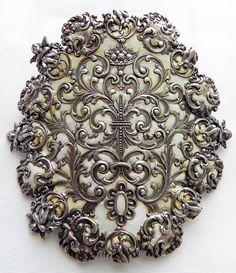 Antique Victorian/Edwardian Silver & Enamel Pin w/ Cherubs