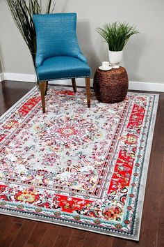 Gray Red Oriental Grey Colorful Persian Isfahan Area Rugs 2x4 5x8 8x11 - Bargain Area Rugs