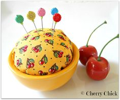 Cherry Pincushion with  Decorative Flower Pins