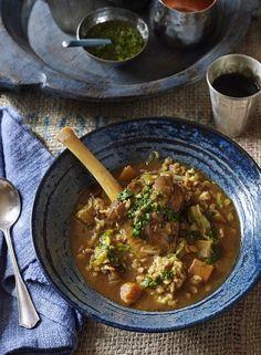 Moroccan Lamb Shank and Barley Soup - Dish Lamb Recipes, Greek Recipes, Soup Recipes, Moroccan Lamb Shanks, Healthy Cooking, Healthy Recipes, Savoury Recipes, Slow Cooking, Healthy Food
