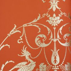 "Mood Living ""Shiva"" Gold on Dark Orange Wallpaper"