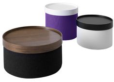 Softline Drums Pouf range incorporates a clever drum shaped design available in 3 sizes. The Drums Pouf come in different fabrics and can be bought with or without the trays. The Softline Drums can be used as a Pouf or Coffee Table and the tray secti Karim Rashid, Drum Accessories, Plywood Furniture, Stylish Coffee Table, Coffee Tables, Round Ottoman, Luminaire Design, Deco Design, Pop Design