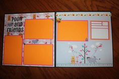 12 x 12 premade scrapbook layout Pooh and Friends, premade Disney scrapbook layout, 12 x 12 handmade scrapbook pages , Disney  Winnie Pooh