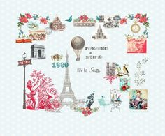 """""""Paris Je t'aime"""" from Room 7 Travel Memories Collection at LAVTHEM.cz Book Wallpaper, Blue Wallpapers, Travel Memories, Jaba, Paisley Print, Decoration, Yahoo Images, Kitsch, Safari"""
