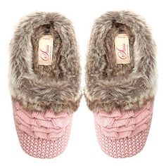 for Mary? Nora Knitted Fur Slippers Pink RRP - gifts for her Gifts For Women, Gifts For Her, Unique Gifts, Great Gifts, Valentine Gifts, Personalized Gifts, Baby Shoes, Slippers, Fancy