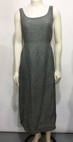 Eileen Fisher Womens S Gray Irish Linen Sleeveless Mid-Calf Dress Tie-Back #EileenFisher #Casual
