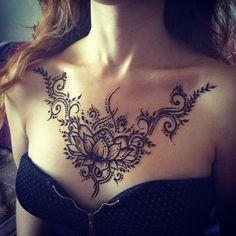 Beautiful Henna Tattoo Designs above Boobs