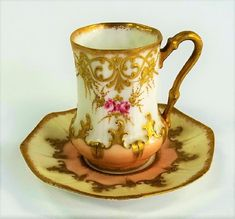 ANTIQUE LIMOGES FRANCE TEA CUP W/ SAUCER