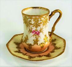 ANTIQUE LIMOGES FRANCE TEA CUP W/ SAUCER