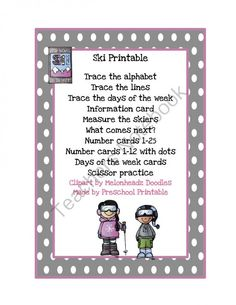 Ski Printable - Fun Ski Printable with lots of activities..  A GIVEAWAY promotion for Ski Printable from Preschool Printables on TeachersNotebook.com (ends on 12-7-2013)