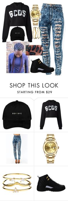 """""""Ken Griffey-Kari Faux"""" by kitty900 ❤ liked on Polyvore featuring GCDS, Rolex, Accessorize and NIKE"""