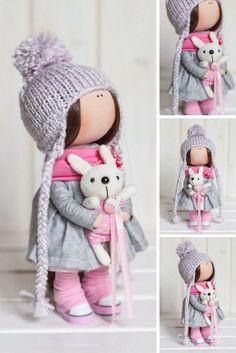 Cloth doll Fabric doll Interior doll Handmade doll Textile doll Tilda doll Pink doll Rag doll Baby doll Art doll Winter doll