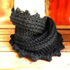 Crochet Scarf Crochet Infinity Scarf Chunky Scarf Infinity Chunky Cowl Scarf Crochet Cowl Scarf Chunky Wool Scarf Black Scarf LAUREN 50.00 USD by #strawberrycouture on #Etsy - MUST SEE!