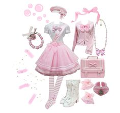 Awe it's just adorably darling and would be perfect for my aug. Pastel Goth Outfits, Pastel Outfit, Girly Outfits, Pretty Outfits, Harajuku Fashion, Kawaii Fashion, Lolita Fashion, Cute Fashion, Fashion Styles
