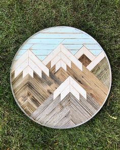 *GIVEAWAY* I can't get enough of these wine barrel ring framed mountain pieces! We've partnered up with to give this one away! See their post from yesterday for details on how to enter! Woodworking Joint Types, Best Woodworking Tools, Woodworking As A Hobby, Woodworking Workbench, Woodworking Workshop, Woodworking Furniture, Reclaimed Wood Wall Art, Reclaimed Furniture, Diy Wood Projects