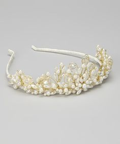 Take a look at this Ivory & Gold Beaded Tiara by Sweetie Pie Collection on #zulily today!