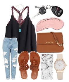 """""""Hello weekend"""" by jadenriley21 on Polyvore featuring H&M, Topshop, Tory Burch, Casetify, MICHAEL Michael Kors, Kate Spade, Kendra Scott and NYX"""