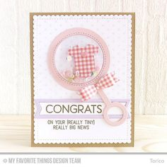 It's Day 2 of the MFT March Release Countdown. The new Baby Rattle Die-namics is perfect for creating a cute shaker card!!! #mftstamps #handmadecards #cardmaking #welcomebaby #shakercard #interactivecard