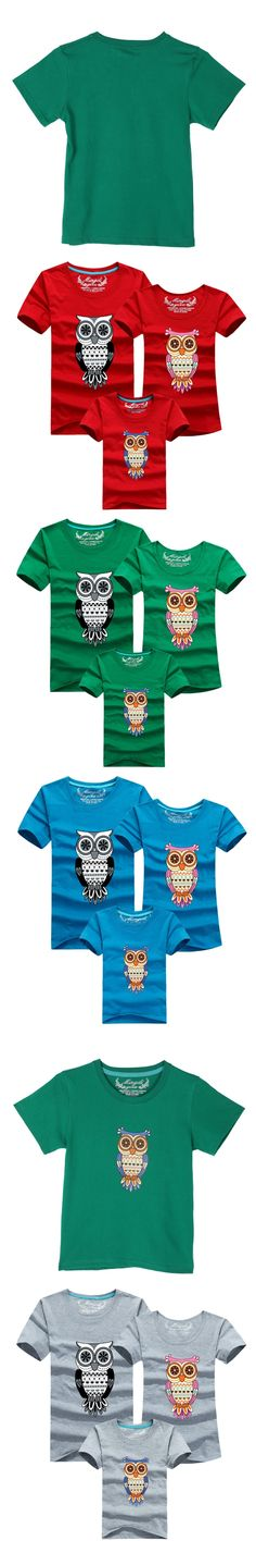 2017 Family Clothing Owl Printed Dad Mum Girls Boys Short Sleeve T Shirt Tops Family Matching Clothes