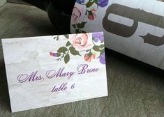 Floral and Birch Place Cards and Wine labels