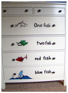 Dr Seuss Mural One Fish Two Fish Dresser smaller