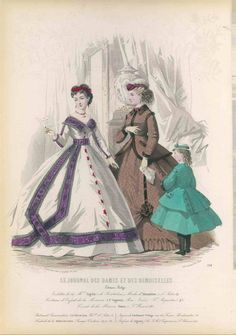 VICTORIAN antique 1865/6 Parisian Fashion Print Plate HAND COLORED girl dress