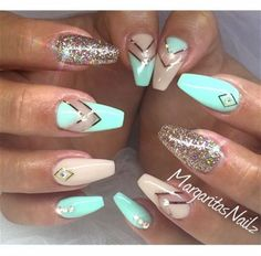 Beautiful turquoise coffin nail design
