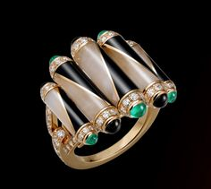Cartier Chromie ring. Yellow gold, cabochon-cut emeralds, rock crystal, onyx, brilliant-cut diamonds