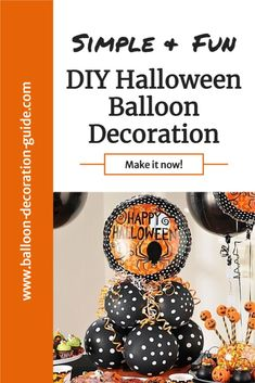 Make this air-filled Halloween balloon centerpiece with our step-by-step tutorial. You can easily vary the design by choosing different themed balloons, from spiders to ghosts to pumpkins. #halloweendecorations #halloweenparty #balloonguide Balloon Centerpieces, Balloon Decorations, Halloween Decorations, Balloon Bouquet, Balloon Arch, Easy Halloween, Halloween Party, Halloween Balloons, Spiders