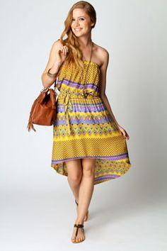 Fiona Bandeau Printed Mixi Dress