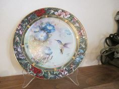 Lena Liu Humbingbird Hand Painted Plate Porcelain Ceramic Art Home Decor Display